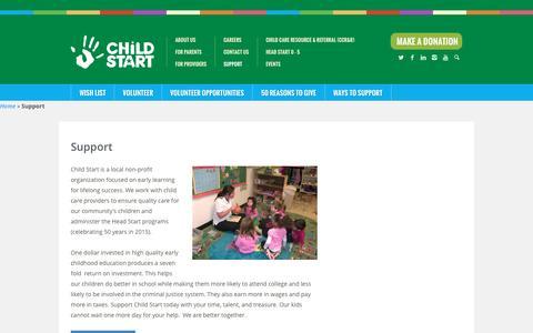 Screenshot of Support Page childstart.org - Support | Child Start - captured July 13, 2016