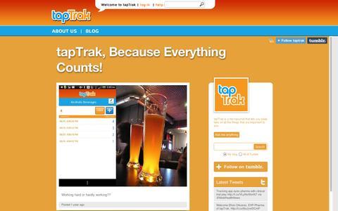 Screenshot of Blog taptrak.com - tapTrak, the MicroJournal for everyone - captured Sept. 10, 2014