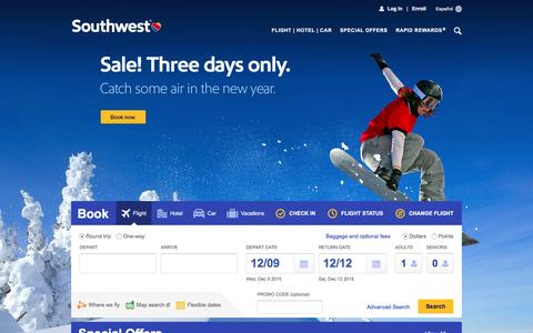 Screenshot of Home Page southwest.com - Southwest Airlines | Book Flights, Airline Tickets, Airfare - captured Dec. 8, 2015