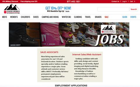Screenshot of Jobs Page goodsports.com - Top quality outdoor footwear, gear and clothing: Patagonia | Bogner | Kjus | goodsports.com - captured Jan. 30, 2016