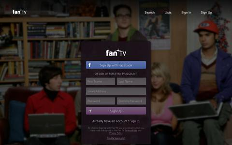 Screenshot of Signup Page fan.tv - Fan TV - Find where to watch streaming movies and tv shows online - captured Nov. 11, 2015
