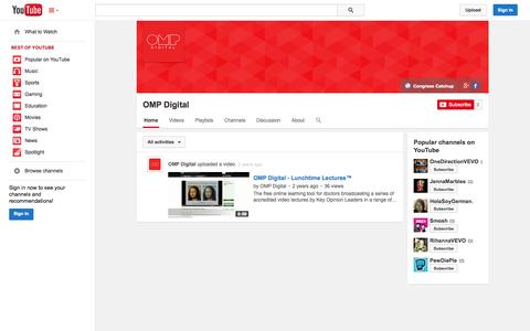 Screenshot of YouTube Page youtube.com - OMP Digital  - YouTube - captured Oct. 26, 2014