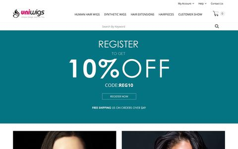 Screenshot of Home Page uniwigs.com - Wigs, Human Hair Wigs, Hair Extensions & Hairpieces | UniWigs� Official Site - captured Oct. 25, 2015
