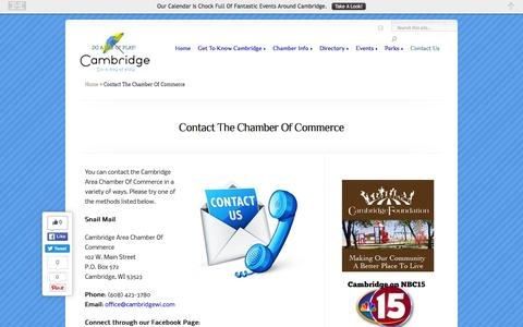 Screenshot of Contact Page cambridgewi.com - Contact The Chamber Of Commerce | Cambridge Area Chamber Of Commerce - captured June 16, 2016