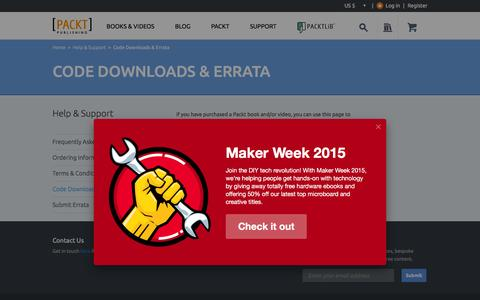 Screenshot of Support Page packtpub.com - Code Downloads | PACKT Books - captured Dec. 7, 2015