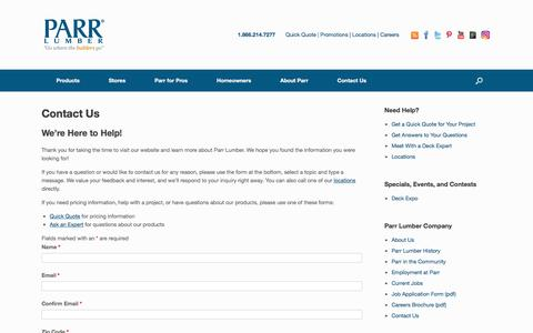 Screenshot of Contact Page parr.com - Contact Us | Parr Lumber - captured April 13, 2017