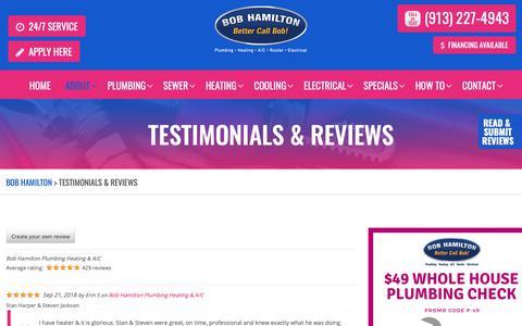 Screenshot of Testimonials Page bobhamiltonplumbing.com - Testimonials & Reviews - Bob Hamilton - captured Oct. 6, 2018