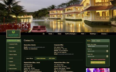 Screenshot of Contact Page mayfairhotels.com - Contact Us - MAYFAIR Hotels & Resorts - captured Nov. 4, 2014
