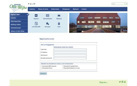 Screenshot of Signup Page olst-wijhe.nl - Gemeente Olst-Wijhe | Registreren - captured Jan. 27, 2016