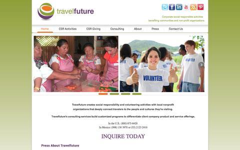 Screenshot of Home Page travelfuture.com - Travelfuture | Corporate Socially Responsible Activities - captured Oct. 7, 2014