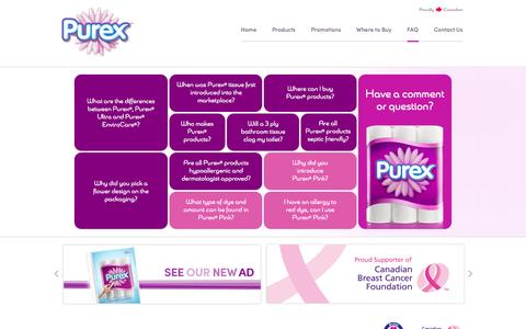Screenshot of FAQ Page purex.ca - Purex® is Western Canada's #1 selling bathroom tissue! - captured April 25, 2016