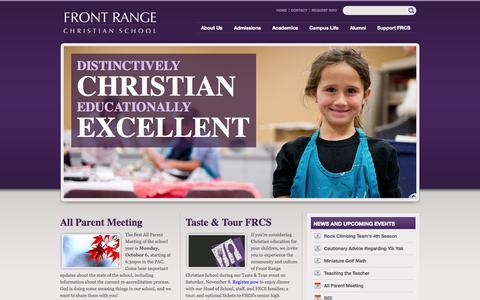 Screenshot of Home Page frcs.org - Front Range Christian School | Distinctively Christian Educationally Excellent - captured Oct. 6, 2014