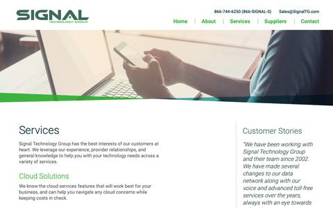 Screenshot of Services Page signaltg.com - Services - Signal Technology Group - captured Oct. 18, 2018