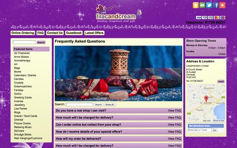Screenshot of FAQ Page lilacandcream.co.uk - Lilacandcream - Fantasy, fragrance and gifts - captured Sept. 30, 2014