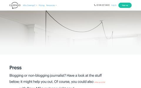 Screenshot of Press Page casengo.com - Press       Casengo - captured July 17, 2019