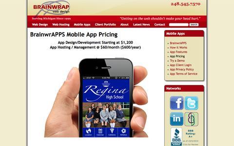 Screenshot of Pricing Page brainwrap.com - BrainwrAPPS Mobile App Pricing   Michigan Professional Web Design, Web Development, Web Hosting & Maintenance by Brainwrap - captured Oct. 5, 2014