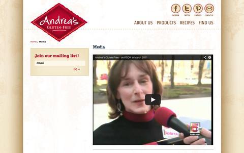 Screenshot of Press Page andreasglutenfree.com - Media - captured Sept. 30, 2014
