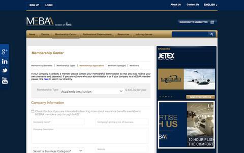 Screenshot of Signup Page mebaa.com - Member Application - MEBAA - captured Oct. 3, 2014