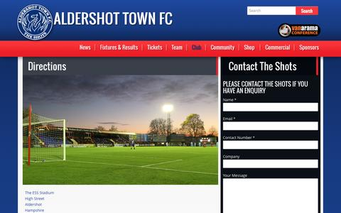 Screenshot of Maps & Directions Page theshots.co.uk - Directions | Aldershot Town FC - captured Nov. 2, 2014