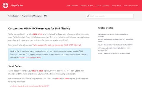 Screenshot of Support Page twilio.com - Customizing HELP/STOP messages for SMS filtering – Twilio Support - captured June 13, 2019