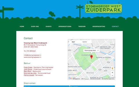 Screenshot of Contact Page stoomgroepwest.nl - Contact - Stoomgroep West Zuiderpark - captured June 29, 2018