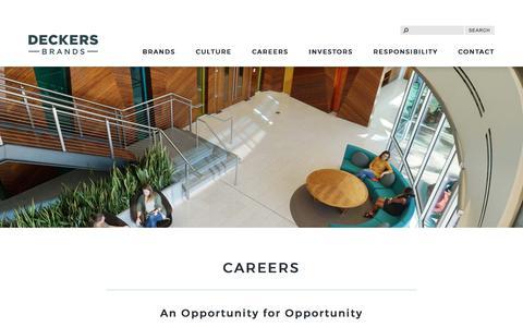 Screenshot of Jobs Page deckers.com - Careers | Deckers Brands - captured July 8, 2017