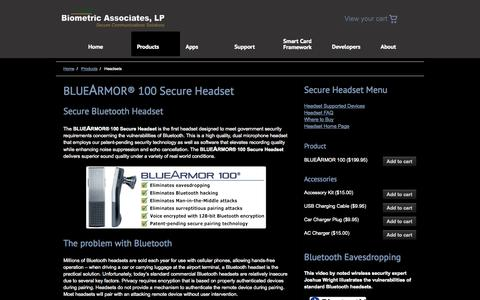 Screenshot of Products Page biometricassociates.com - Headsets «  Biometric Associates, LP - captured Sept. 13, 2014