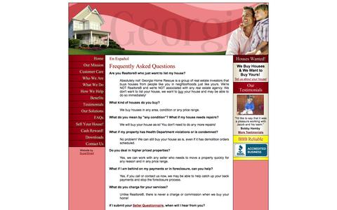 Screenshot of FAQ Page gahomerescue.com - Georgia Home Rescue - Frequently Asked Questions - captured Oct. 2, 2014