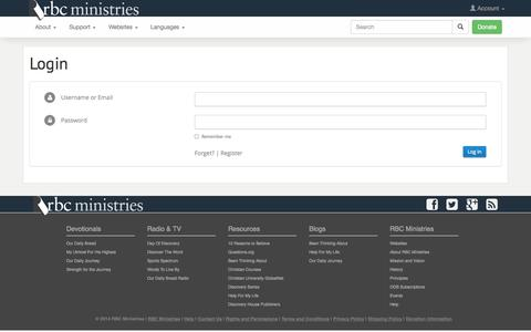 Screenshot of Login Page rbc.org - Login | RBC Ministries - captured Nov. 2, 2014