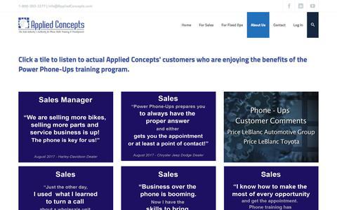 Screenshot of Testimonials Page appliedconcepts.com - Testimonials – Applied Concepts – Automotive Phone Skills Training Sales Service Parts - captured Oct. 8, 2017