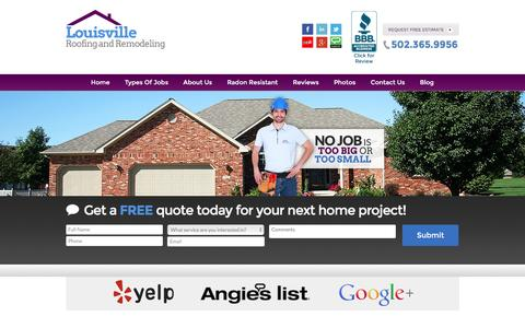 Screenshot of Home Page roofingquotelouisvilleky.com - Louisville Roofing and Remodeling | Roofers Louisville - captured Feb. 1, 2016