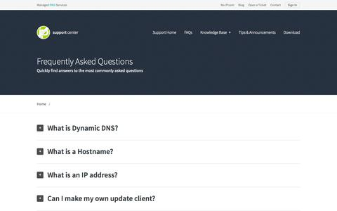 Screenshot of FAQ Page noip.com - Frequently Asked Questions – Support | No-IP - captured Oct. 10, 2014