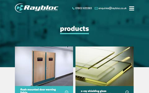 Screenshot of Products Page raybloc.co.uk - X-Ray Protection Products - Radiation Protection   Raybloc - captured Nov. 12, 2017