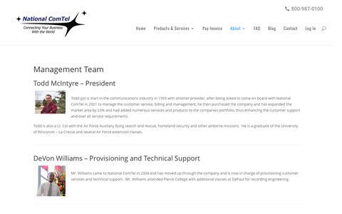 Screenshot of Team Page telecommunicationsdenver.com - Management Team - National ComTel - captured Dec. 3, 2016