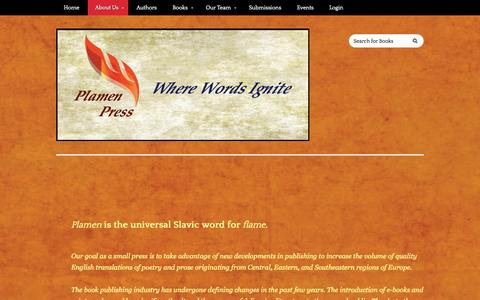 Screenshot of About Page plamenpress.com - Plamen Press - About Us   - captured July 21, 2015