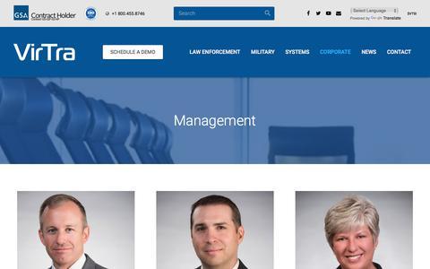 Screenshot of Team Page virtra.com - Management | VirTra - captured Nov. 7, 2017
