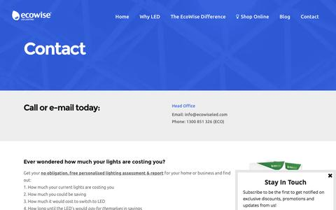 Screenshot of Contact Page ecowiseled.com - Contact | EcoWise LED - captured Sept. 28, 2016