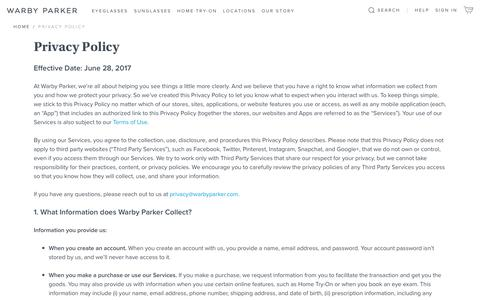 Screenshot of Privacy Page warbyparker.com - Privacy Policy | Warby Parker - captured Oct. 22, 2017