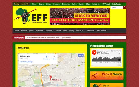 Screenshot of Contact Page effighters.org.za - Contact us | EFF - captured Nov. 4, 2014