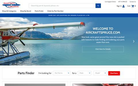 Screenshot of Home Page aircraftspruce.com - Pilot Supplies and Aircraft Parts | Aircraft Spruce - captured May 10, 2019