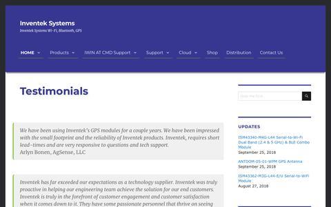Screenshot of Testimonials Page inventeksys.com - Testimonials - captured Oct. 12, 2018