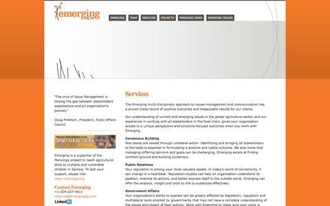 Screenshot of Services Page emergingag.com - Emerging Ag Inc. » Services - captured Sept. 29, 2014