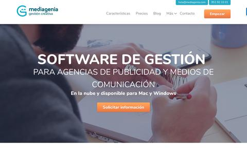 Screenshot of Home Page mediagenia.com - Mediagenia - Software para Agencias de Publicidad - captured Sept. 20, 2018