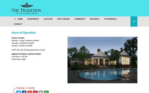 Screenshot of Hours Page thetraditionapts.com - Hours of Operation - The Tradition Apartments - captured Oct. 25, 2018