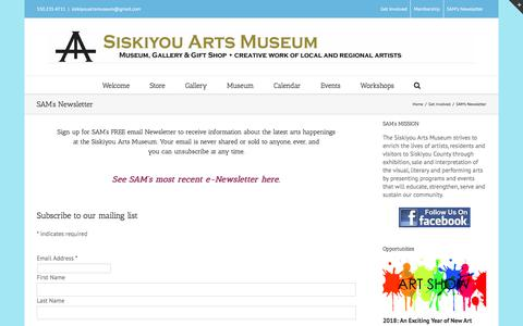 Screenshot of Signup Page siskiyouartsmuseum.org - Siskiyou Arts Museum -   SAM's Newsletter - captured Feb. 20, 2018