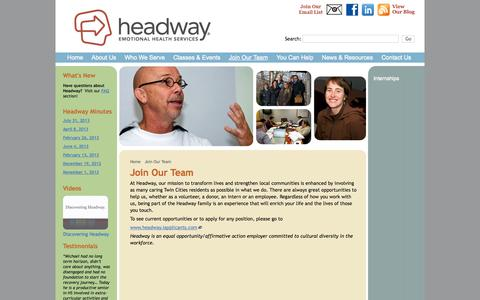 Screenshot of Signup Page headway.org - Join Our Team : Headway Emotional Health Services - captured Oct. 2, 2014