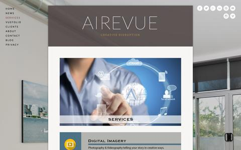 Screenshot of Services Page airevue.com - Services — AireVue - captured Oct. 29, 2014