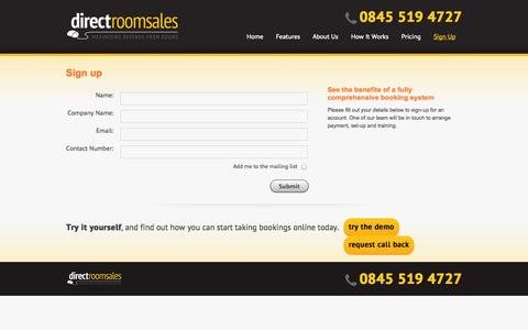 Screenshot of Signup Page directroomsales.co.uk - Hotel Booking System Sign Up: Direct Room Sales, Maximising Revenue from Rooms - captured Oct. 29, 2014