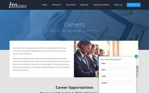 Screenshot of Jobs Page isyssolutions.com - Careers | iSys Solutions - captured Sept. 20, 2018