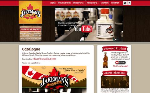 Screenshot of Products Page themaplestore.com - Catalogue - Jakeman's Maple Products - captured Oct. 6, 2014